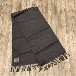 Christian Dior cashmere wool gray fringed scarf
